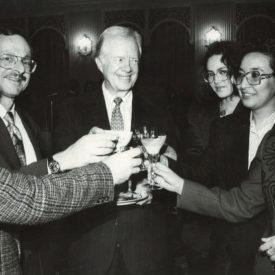 Jimmy Carter, the 39th US president, Turkish Television company's officials, Zh Amerkhanova, International Friendship Center; L. Beketova