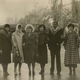 With colleagues from the Jambul Prefabricated Housing Factory. Leila is the fifth on the left. Jambul (Taraz), 7 November 1982