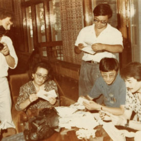 With colleagues, TAN TV Company, 1993