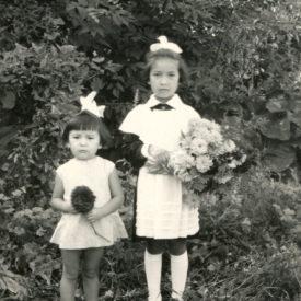 First year at school, with sister Galiya in the village of Glubokoye, 1965