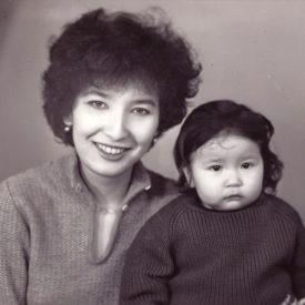 With her daughter, Jambul (Taraz), 1980