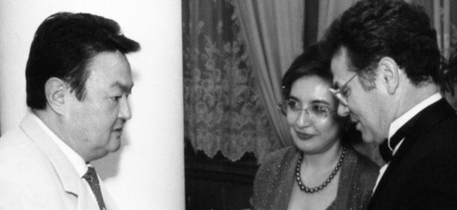 Заманбек Нуркадилов, Лейла и Виктор Храпуновы Алматы ноябрь 1998 года