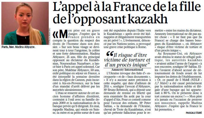 L'appel à la France de la fille de l'opposant Kazakh