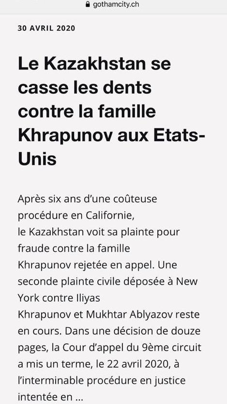 Le Kazakhstan se casse les dents contre la famille Khrapunov aux Etats-Unis